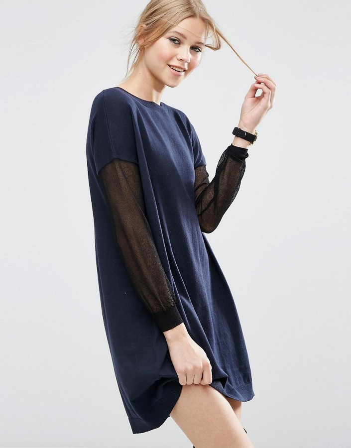 asos-jumper-dress-with-sheer-sleeve-detail