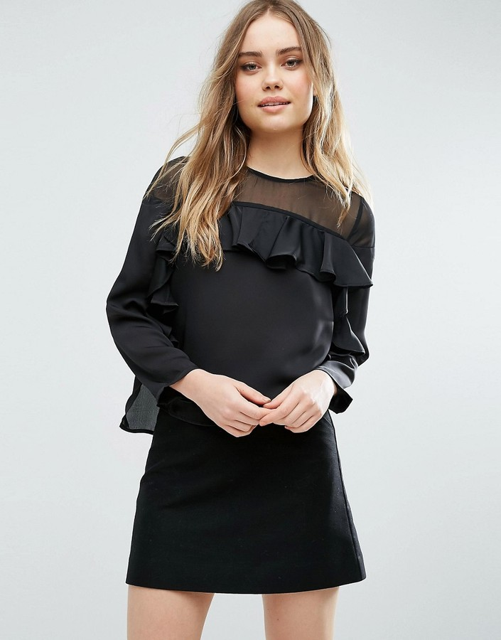 asos-ruffle-top-in-satin-with-sheer-panel
