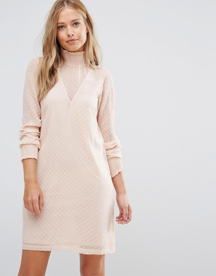vila-bobby-mesh-high-neck-shift-dress